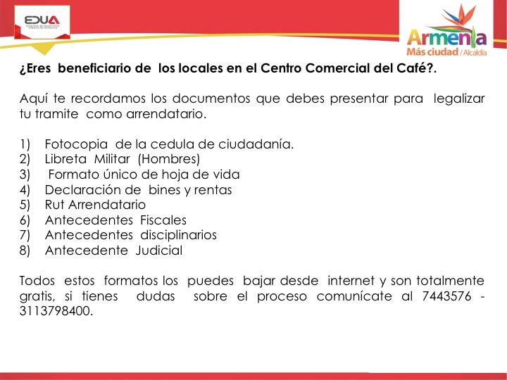 REQUISITOS INMOBILIARIA CENTRO COMERCIAL DEL CAFE